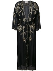 Jucca Embroidered Sheer Coat Women Viscose 42 Black
