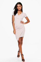 Boohoo Isabelle Ruched Side Tailored Dress Stone