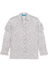 Mih Jeans M.I.H Baylis Ruffled Floral Print Cotton Voile Shirt White