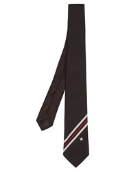Givenchy Stripes And Star Jacquard Silk Tie Black Multi