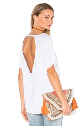Chaser Drape Back Short Sleeve Scoop Neck Tee White