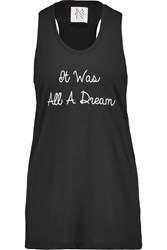 Zoe Karssen It Was All A Dream Embroidered Jersey Tank Black