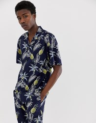 Fairplay Capone Shirt With Pineapple Print In Navy Black