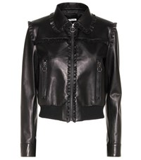 Miu Miu Ruffle Trimmed Leather Jacket Black