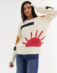 Maison Scotch Patterned Chunky Knit Jumper Cream