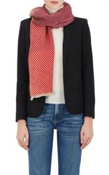 Barneys New York Women's Striped Colorblocked Cashmere Scarf Red