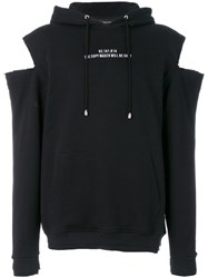 Icosae Cut Out Hoodie Cotton Black