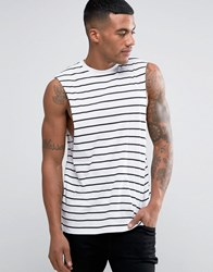 Asos Relaxed Stripe Sleeveless T Shirt With Dropped Armhole White Black