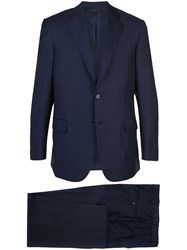 Brioni Checked Two Piece Suit Blue
