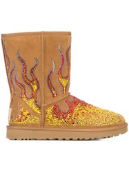 Jeremy Scott Crystal Flame Ankle Boots Suede Crystal Lamb Fur Rubber Brown