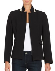 Ellen Tracy Notched Collar Open Blazer Black