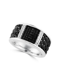 Effy Sterling Silver White And Black Sapphire Ring