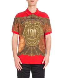 Givenchy Columbian Fit Money Print Polo Shirt Red