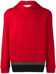Marni Patched Hem Hoodie Red