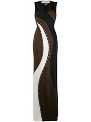 Just Cavalli Stud Embellished Panelled Gown Brown