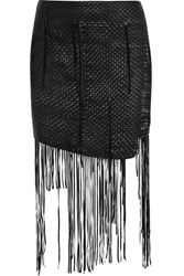 Magda Butrym Norwich Fringed Woven Leather Mini Skirt Black