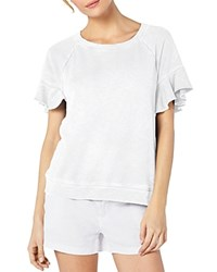 Michael Stars Ruffled Short Sleeve Sweatshirt White