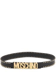 Moschino 35Mm Studded Logo Lettering Leather Belt
