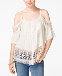 American Rag Crochet Trim Cold Shoulder Top Only At Macy's White