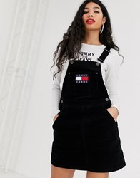 Tommy Jeans Cord Dungaree Dress Black