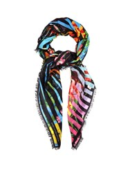 Mary Katrantzou Floral Stripes Print Scarf Black Multi