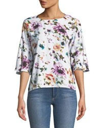 Chelsea And Theodore Floral Print Flutter Sleeve Blouse Multi
