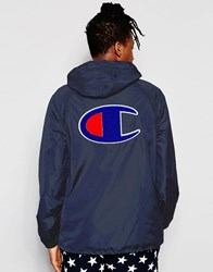 Champion Overhead Runner Jacket With Back Logo Nny Navy