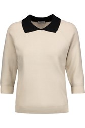 Toteme Ladis Pique Two Tone Ribbed Knit Sweater Ivory