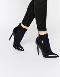 Paper Dolls Ryder Heeled Chelsea Boots Navy Patent