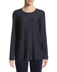 Eileen Fisher Tencel Silk Round Neck Sweater Midnight
