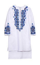 Yanina Embroidered Floral 3 4 Sleeve High Low Dress White Blue