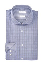 Isaac Mizrahi Navy Plaid Spread Collar Long Sleeve Modern Fit Dress Shirt Blue