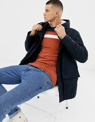 New Look Parka Jacket With Borg Lined Hood In Navy