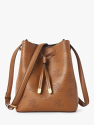 Ralph Lauren Dryden Debby Logo Leather Bucket Bag Field Brown Black