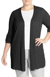 Plus Size Women's Eileen Fisher Organic Linen And Cotton Long Slim Cardigan Black