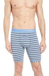 Tommy John Team Stripe Boxer Briefs Iron Grey White Mirage Blue