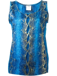Yves Saint Laurent Vintage Snakeskin Print Top Blue