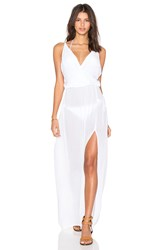 Bobi Rayon Gauze V Neck Sleeveless Maxi Dress White