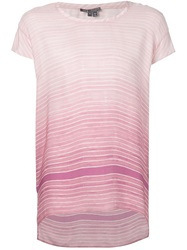 Vince Tonal Striped T Shirt Pink And Purple