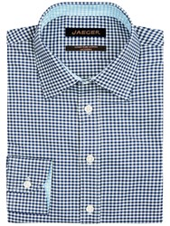 Jaeger Textured Gingham Slim Fit Shirt Navy