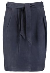 More And More Leather Skirt Marine Dark Blue
