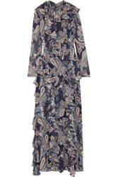 Mikael Aghal Woman Ruffle Trimmed Printed Chiffon Maxi Dress Navy