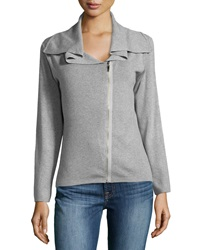 Neiman Marcus Woven Zip Cardigan Medium Heather Gray