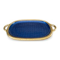 Julia Knight Florentine Oval Tray With Handles Sapphire
