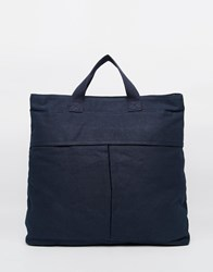 Asos Backpack Tote Hybrid In Navy Canvas Blue