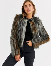 Urbancode Short Coat In Faux Feather Multi