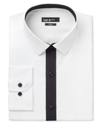 Bar Iii Men's Slim Fit White With Black Placket Dress Shirt Only At Macy's