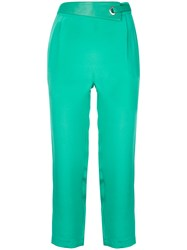 Max And Moi Eyelet Detail Cropped Trousers Green