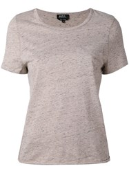 A.P.C. Short Sleeve T Shirt Women Cotton Wool Other Fibers Xs Nude Neutrals