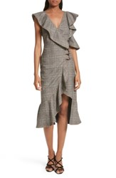 Self Portrait Women's Check Wool Faux Wrap Dress Grey